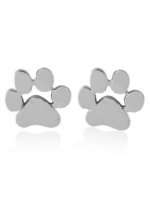 Cute Puppy Claw Tiny Stud Earrings - SILVER