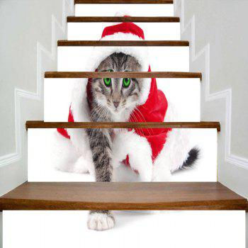 Cat Wearing Christmas Clothes Printed Decorative Stair Stickers - WHITE WHITE