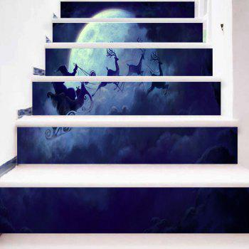 Santa Sleigh Christmas Moon Night Pattern Stair Stickers - BLUE 100*18CM*6PCS