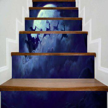Santa Sleigh Christmas Moon Night Pattern Stair Stickers - BLUE BLUE