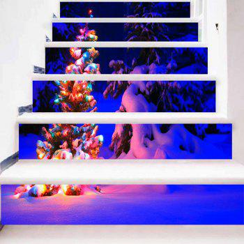Christmas Tree Snow Night Pattern Decorative Stair Stickers - BLUE 100*18CM*6PCS