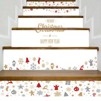 Letter Print Christmas Elements Home Decor Stair Stickers - WHITE WHITE