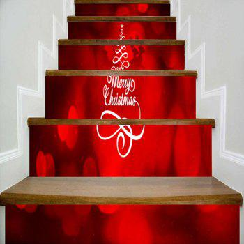 Merry Christmas Tree Deer Pattern Decorative Stair Stickers - RED RED