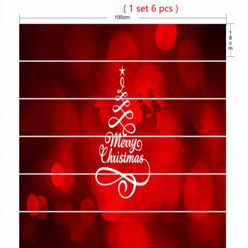 Merry Christmas Tree Deer Pattern Decorative Stair Stickers - RED 100*18CM*6PCS