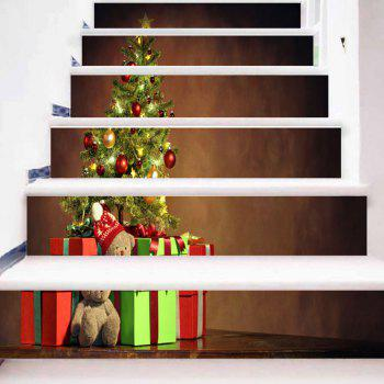 Christmas Tree Gift Print Decorative Stair Stickers - BROWN 100*18CM*6PCS