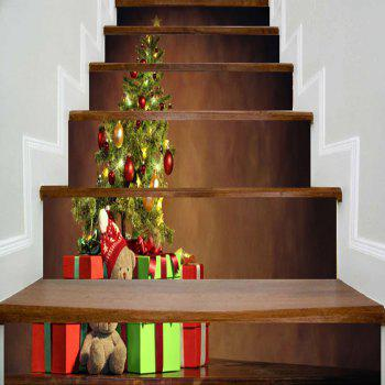Christmas Tree Gift Print Decorative Stair Stickers - BROWN BROWN