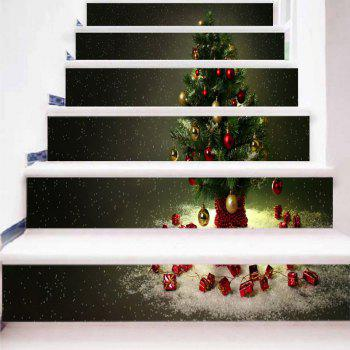 Christmas Tree Print Decorative Stair Stickers - DARK GRAY GREEN 100*18CM*6PCS