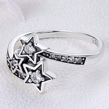 Rhinestone Star Sterling Silver Ring - SILVER 8