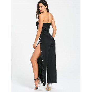 Strapless Buttons Slit Wide Leg Jupmsuit - BLACK S