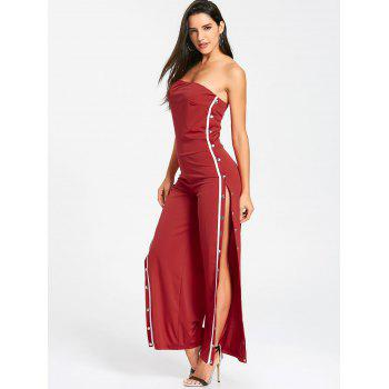 Strapless Buttons Slit Wide Leg Jupmsuit - RED L