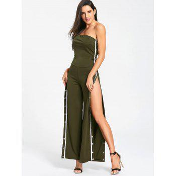 Strapless Buttons Slit Wide Leg Jupmsuit - ARMY GREEN ARMY GREEN