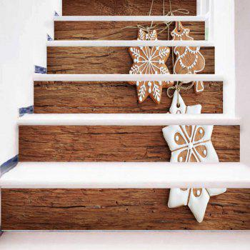 Snowflake Wood Grain Christmas Tree Pattern Stair Stickers - WOOD COLOR WOOD COLOR