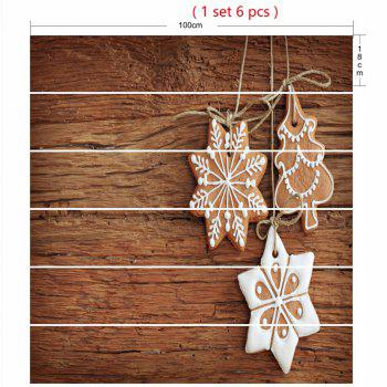 Snowflake Wood Grain Christmas Tree Pattern Stair Stickers - WOOD COLOR 100*18CM*6PCS