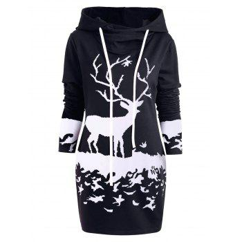 Hooded Monochrome Reindeer Tunic Dress
