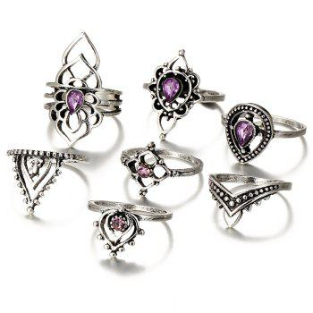 Faux Amethyst Flower Teardrop Finger Ring Set - SILVER