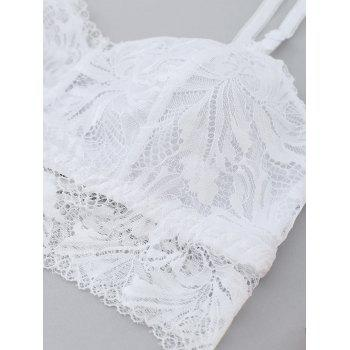Sheer  Bralette and Lace Panties Set - WHITE 85C
