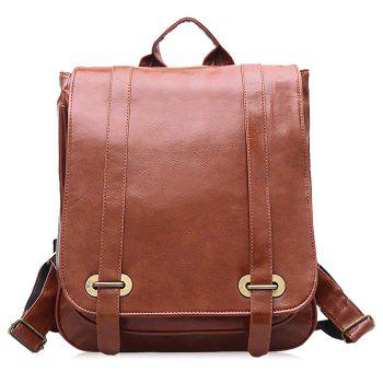 Faux Leather Double Buckle Strap Backpack - BROWN BROWN