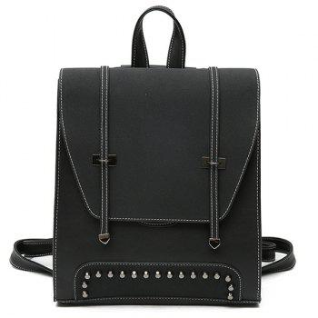 Studs PU Leather Backpack With Handle - BLACK BLACK