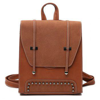 Studs PU Leather Backpack With Handle - BROWN BROWN