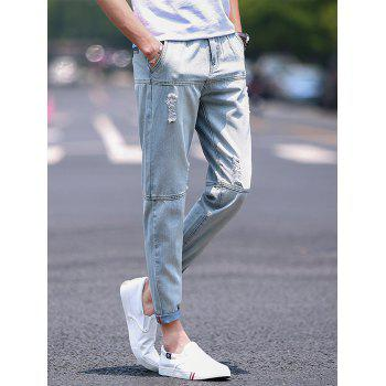 Panel Straight Leg Bleached Ripped Jeans - LIGHT BLUE LIGHT BLUE