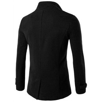 Funnel Collar Double Breasted Epaulet Pea Coat - BLACK 2XL