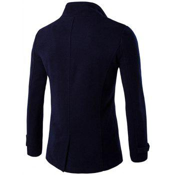 Funnel Collar Double Breasted Epaulet Pea Coat - PURPLISH BLUE L