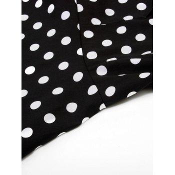 Vintage Polka Dot Party Pin Up Dress - BLACK 2XL
