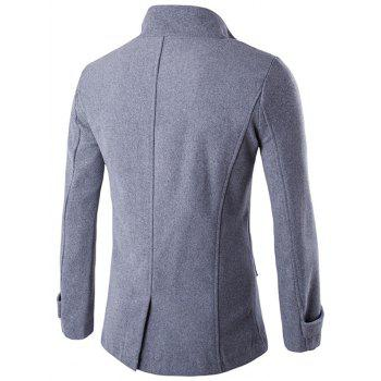 Funnel Collar Double Breasted Epaulet Pea Coat - GRAY 2XL