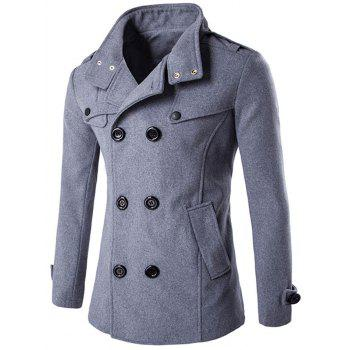 Funnel Collar Double Breasted Epaulet Pea Coat - GRAY GRAY