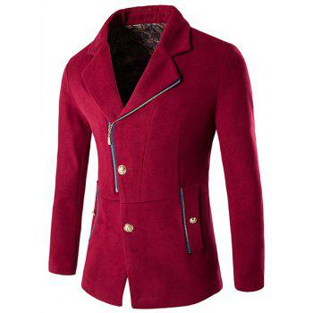 Side Button and Zipper Up Wool Blend Coat - RED RED