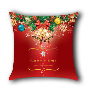 Christmas Bell and Baubles Pattern Linen Pillow Case - RED RED