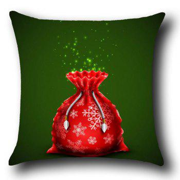 Christmas Gift Bag Pattern Linen Pillow Case - RED/GREEN W12 INCH * L20 INCH