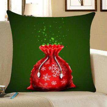 Christmas Gift Bag Pattern Linen Pillow Case - RED AND GREEN RED/GREEN