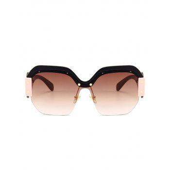 Anti-fatigue Semi-Rimless Decorated Square Sunglasses - TEA COLORED