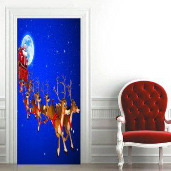 Santa Sleigh Moon Pattern Christmas Door Art Stickers - BLUE 38.5*200CM*2PCS