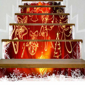 Christmas Ornaments Angel Pattern Stair Stickers - RED RED