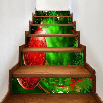 Christmas Ball and Snowflake Pattern Decorative Stair Stickers - RED AND GREEN RED/GREEN