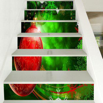 Christmas Ball and Snowflake Pattern Decorative Stair Stickers - RED/GREEN 100*18CM*6PCS