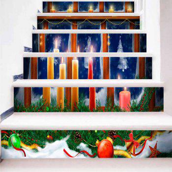 Christmas Candles Pattern Decorative Stair Stickers - COLORMIX 100*18CM*6PCS