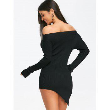 Off The Shoulder Slit Mini Knit Dress - BLACK BLACK