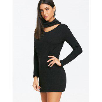 Choker Bodycon Knitted Dress - BLACK M