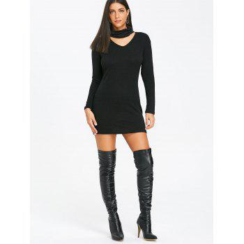 Choker Bodycon Knitted Dress - BLACK 2XL