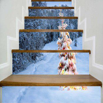 Snowscape Christmas Tree Pattern Stair Stickers - COLORMIX COLORMIX