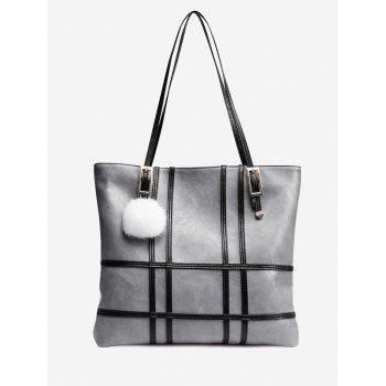 Plaid Striped Color Block Shoulder Bag - GRAY GRAY
