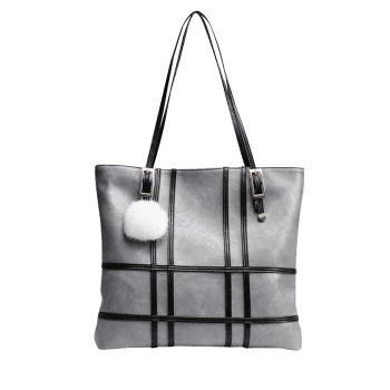 Plaid Striped Color Block Shoulder Bag -  GRAY