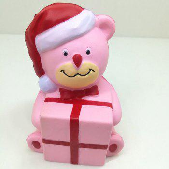 Stress Relief Slow Rising Squishy Toy PU Simulation Christmas Bear - PINK PINK