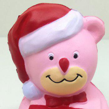 Stress Relief Slow Rising Squishy Toy PU Simulation Christmas Bear - PINK