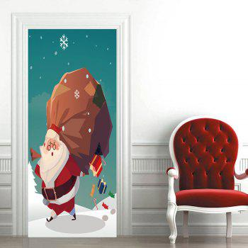 Santa Claus with Gift Boxes Pattern Decorative Door Stickers - GREEN 38.5*200CM*2PCS