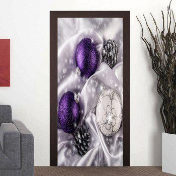 Christmas Ornament Ball and Pine Cone Printed Door Art Stickers - WHITE WHITE