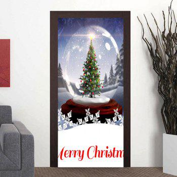 Crystal Ball Christmas Tree Printed Decorative Door Stickers - BLUE BLUE